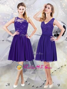 Extravagant Scoop See Through Purple Bridesmaid Dress Prom and Party and Wedding Party and For with Lace and Appliques Scalloped Sleeveless Zipper