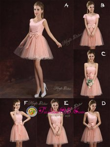 V-neck Sleeveless Tulle and Lace Quinceanera Dama Dress Lace and Bowknot Lace Up