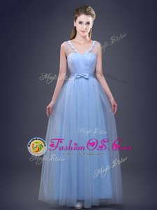 Unique Light Blue Sleeveless Appliques and Ruching and Bowknot Floor Length Bridesmaid Dresses