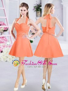 New Arrival Orange A-line Halter Top Sleeveless Chiffon Mini Length Zipper Ruching Wedding Guest Dresses
