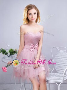 Pink Sleeveless Ruching and Bowknot Mini Length Dama Dress for Quinceanera