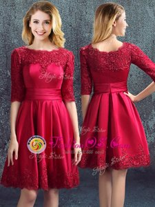 Wonderful Mini Length Empire Half Sleeves Wine Red Bridesmaids Dress Zipper