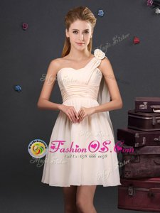 Champagne Empire Chiffon One Shoulder Sleeveless Ruching and Hand Made Flower Mini Length Zipper Quinceanera Dama Dress