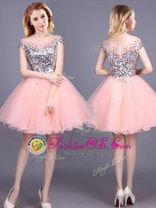 Modern Pink A-line Sequins Dama Dress Zipper Tulle Short Sleeves Mini Length