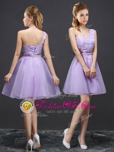 Lavender Lace Up One Shoulder Lace Dama Dress Organza Sleeveless