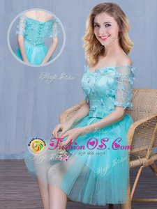 Fashion Off the Shoulder Knee Length Empire Short Sleeves Aqua Blue Bridesmaid Dress Lace Up