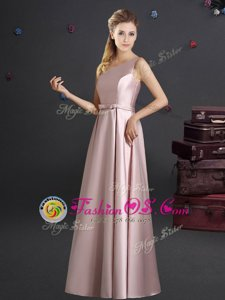 Trendy One Shoulder Floor Length Pink Bridesmaids Dress Elastic Woven Satin Sleeveless Bowknot
