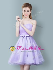 Customized Lavender Empire Sweetheart Sleeveless Tulle Knee Length Zipper Ruching and Bowknot Quinceanera Court Dresses