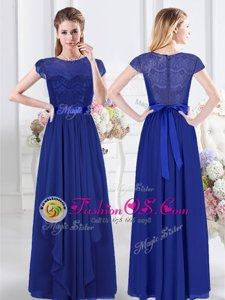 Hot Selling Royal Blue Scoop Zipper Lace and Belt Bridesmaid Dresses Short Sleeves