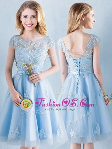 Attractive A-line Wedding Guest Dresses Light Blue Scoop Tulle Short Sleeves Knee Length Lace Up