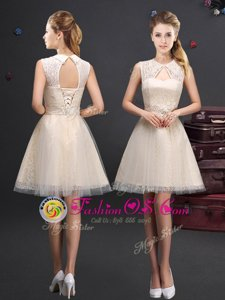 Beauteous Sleeveless Lace and Appliques and Belt Lace Up Bridesmaids Dress