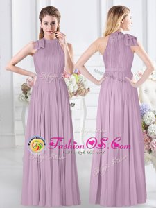 Custom Made Lavender Sleeveless Floor Length Ruching Zipper Wedding Party Dress