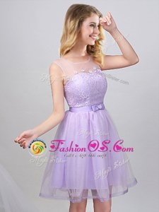 Scoop Lavender A-line Lace and Appliques and Belt Court Dresses for Sweet 16 Lace Up Tulle Sleeveless Mini Length
