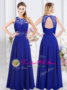 Royal Blue Backless Scoop Lace Bridesmaid Dresses Chiffon Sleeveless