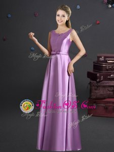 Elastic Woven Satin Straps Sleeveless Zipper Bowknot Bridesmaid Gown in Lilac