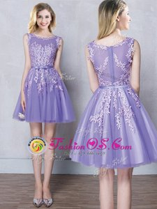 Cute Scoop Lavender Sleeveless Tulle Zipper Bridesmaid Gown for Prom and Party and Wedding Party