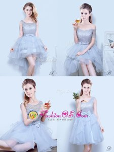 Off the Shoulder Light Blue Short Sleeves Tulle Lace Up Wedding Party Dress for Prom and Party and Wedding Party