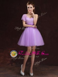 Lavender Scoop Zipper Ruching and Bowknot Wedding Party Dress Sleeveless