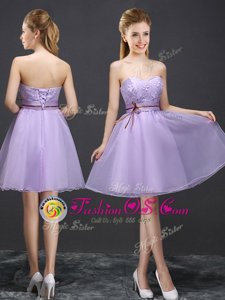 Noble Lavender Lace Up Bridesmaid Dresses Lace Sleeveless Mini Length