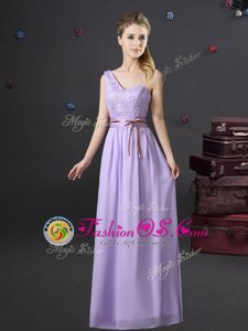 Off the Shoulder Floor Length Lavender Bridesmaid Gown Chiffon Half Sleeves Ruching and Belt