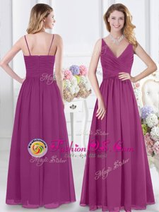 Fuchsia Sleeveless Ruching Floor Length Vestidos de Damas
