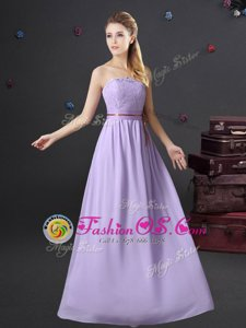 Exquisite Lavender Sleeveless Floor Length Lace and Belt Lace Up Dama Dress for Quinceanera