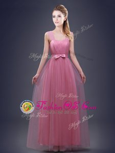 Edgy Pink Empire Tulle Straps Sleeveless Ruching and Bowknot Floor Length Lace Up Bridesmaid Dresses