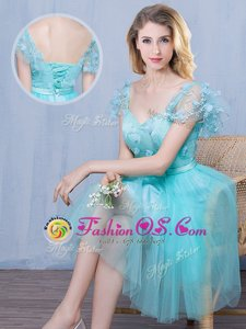 High Class Tulle Sweetheart Short Sleeves Lace Up Lace and Appliques and Bowknot Bridesmaid Gown in Aqua Blue