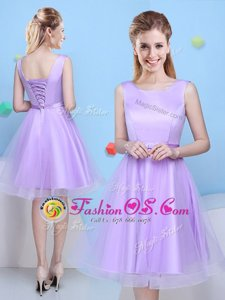 Popular Lavender A-line Scoop Sleeveless Tulle Knee Length Lace Up Bowknot Vestidos de Damas