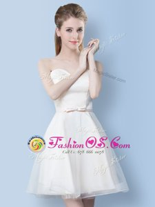 Knee Length Lace Up Wedding Guest Dresses White and In for Prom and Party with Bowknot
