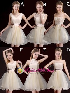Mini Length Lace Up Dama Dress Champagne and In for Prom and Party and Wedding Party with Lace and Appliques and Belt