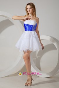 White A-line Beading Dama Dress Zipper Organza Sleeveless Mini Length