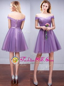 Super Lavender Lace Up Off The Shoulder Ruching and Belt Court Dresses for Sweet 16 Tulle Sleeveless