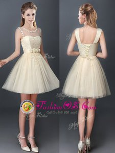 Delicate Scoop Mini Length Champagne Wedding Guest Dresses Tulle Sleeveless Lace and Hand Made Flower