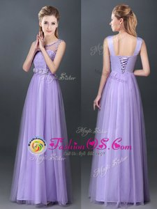 Floor Length Lavender Bridesmaid Dress Scoop Sleeveless Lace Up