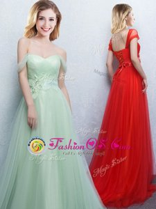 Off the Shoulder Sleeveless With Train Appliques and Ruching Lace Up Bridesmaid Dresses with Apple Green Brush Train
