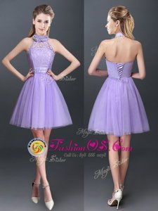 Glamorous Halter Top Sleeveless Tulle Mini Length Lace Up Bridesmaid Gown in Lavender for with Lace and Appliques