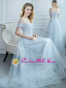 Custom Design Off the Shoulder Cap Sleeves Floor Length Lace Up Wedding Guest Dresses Light Blue and In for Prom and Party with Beading and Appliques