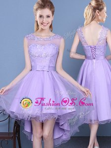 Eye-catching Scoop Lace Wedding Party Dress Lavender Lace Up Sleeveless Mini Length