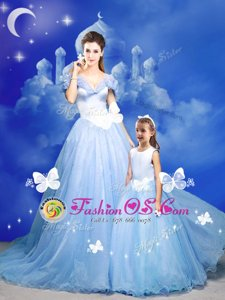 Trendy Light Blue A-line Tulle Off The Shoulder Sleeveless Beading and Bowknot and Hand Made Flower With Train Zipper Quinceanera Dress Court Train