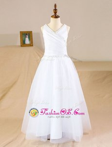 High Quality Tulle V-neck Sleeveless Zipper Beading Flower Girl Dresses in White