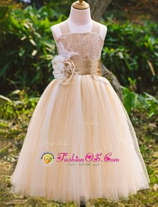 High Quality Champagne Sleeveless Lace Floor Length Toddler Flower Girl Dress