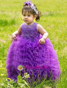 Lovely Scoop Sleeveless Lace and Ruffles Lace Up Flower Girl Dresses for Less
