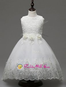 Sexy Scoop Sleeveless Brush Train Zipper Toddler Flower Girl Dress White Organza