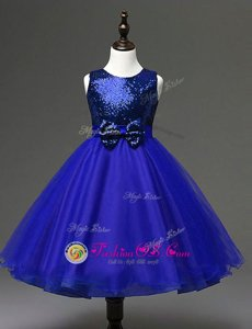 Royal Blue Scoop Neckline Sequins and Bowknot Flower Girl Dresses for Less Sleeveless Zipper