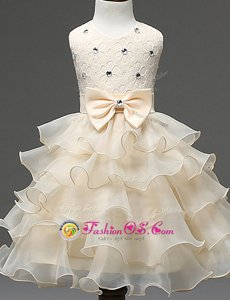 Enchanting Scoop Champagne Zipper Flower Girl Dresses for Less Beading and Ruffled Layers Sleeveless Mini Length
