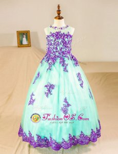 Perfect Turquoise Scoop Neckline Beading and Lace and Appliques Flower Girl Dresses for Less Sleeveless Zipper