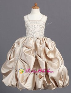 Unique Champagne Sleeveless Beading and Pick Ups Floor Length Flower Girl Dress