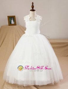New Arrival Sleeveless Floor Length Lace and Appliques Criss Cross Flower Girl Dress with White