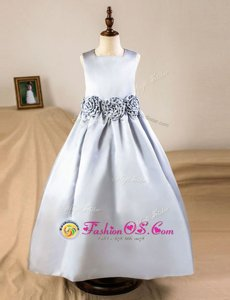 Silver Zipper Square Hand Made Flower Flower Girl Dresses for Less Satin Sleeveless